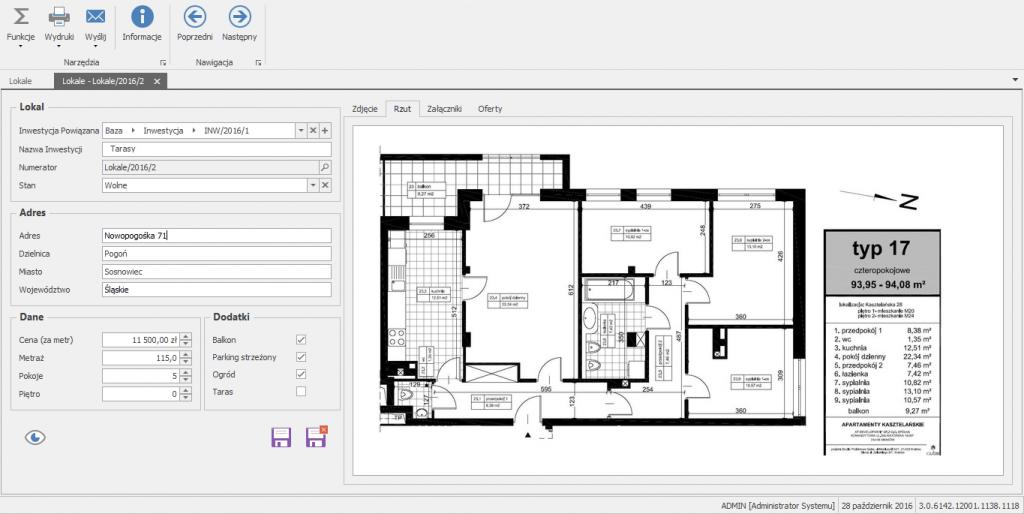 Oprogramowanie dla deweloperów - kartoteka konkretnego lokalu