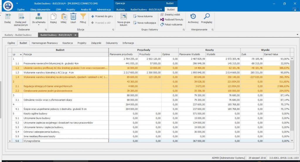 Connecto DMS - zarządzanie projektami