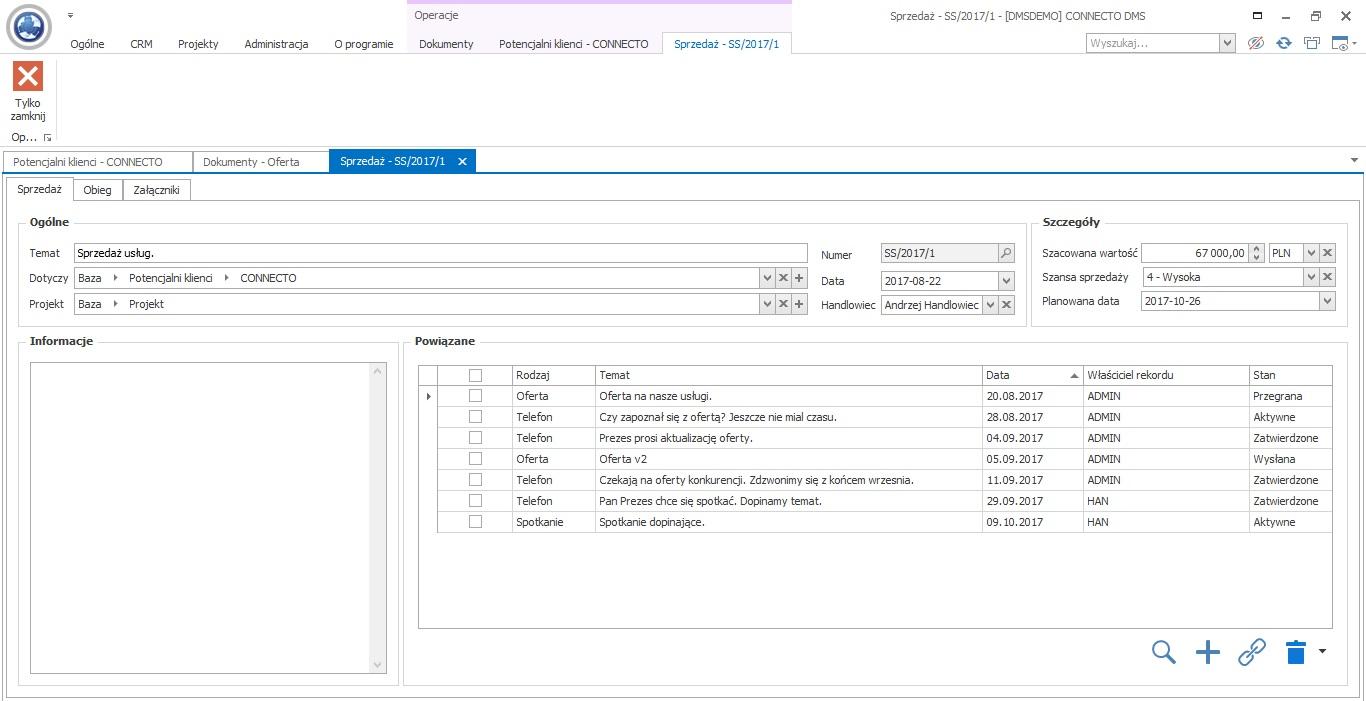 oprogramowanie dla firm handlowych - karta potencjalnego klienta connecto